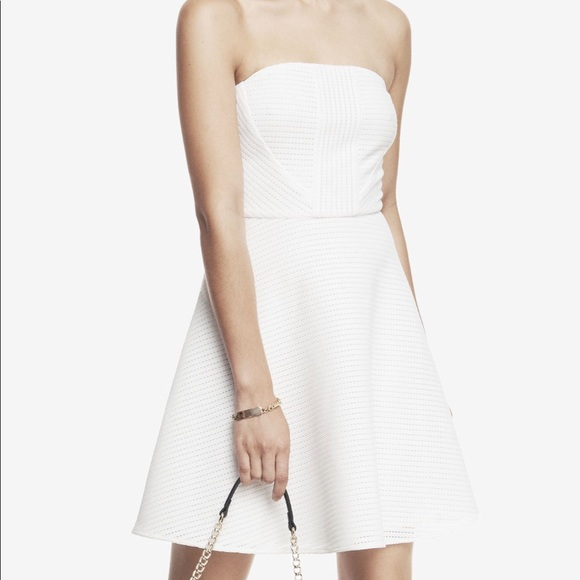 1ee541b921a60 Express Dresses & Skirts - Express White Strapless Textured Fit & Flare  dress